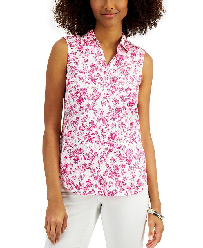 Charter Club - Toile-Print Sleeveless Shirt