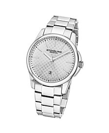 Stuhrling Men's Silver Tone Stainless Steel Bracelet Watch 42mm