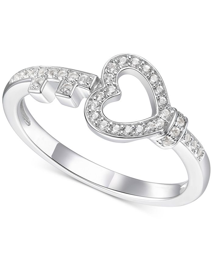 Macy's - Diamond Heart & Key Statement Ring (1/6 ct. t.w.) in Sterling Silver