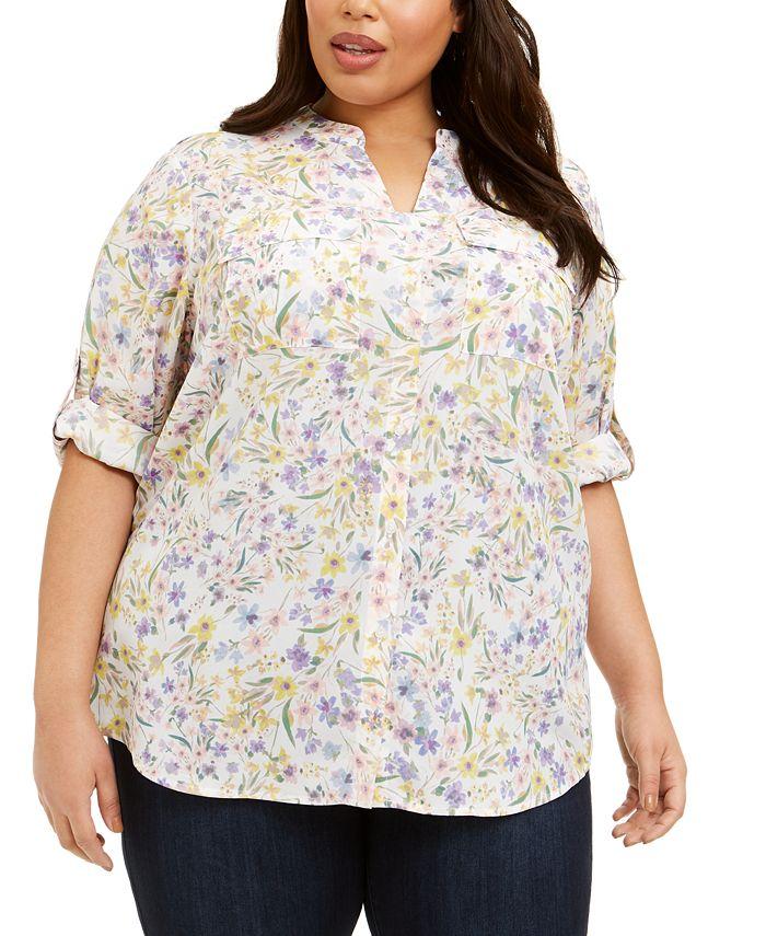 Calvin Klein - Plus Size Floral-Print Button-Up Top