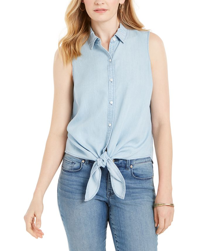 Charter Club - Cotton Tie-Hem Sleeveless Shirt