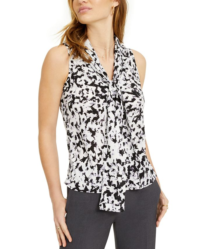 Bar III - Tie-Neck Printed Top, Created For Macy's