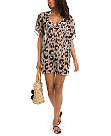 Bar III Leopard-Print Tunic Cover-Up, Created for Macy's