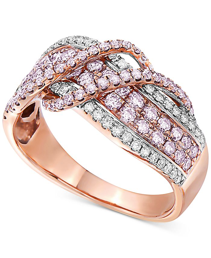 Macy's - Certified Diamond Crossover Statement Ring (1 ct. t.w.) in 14k Rose Gold