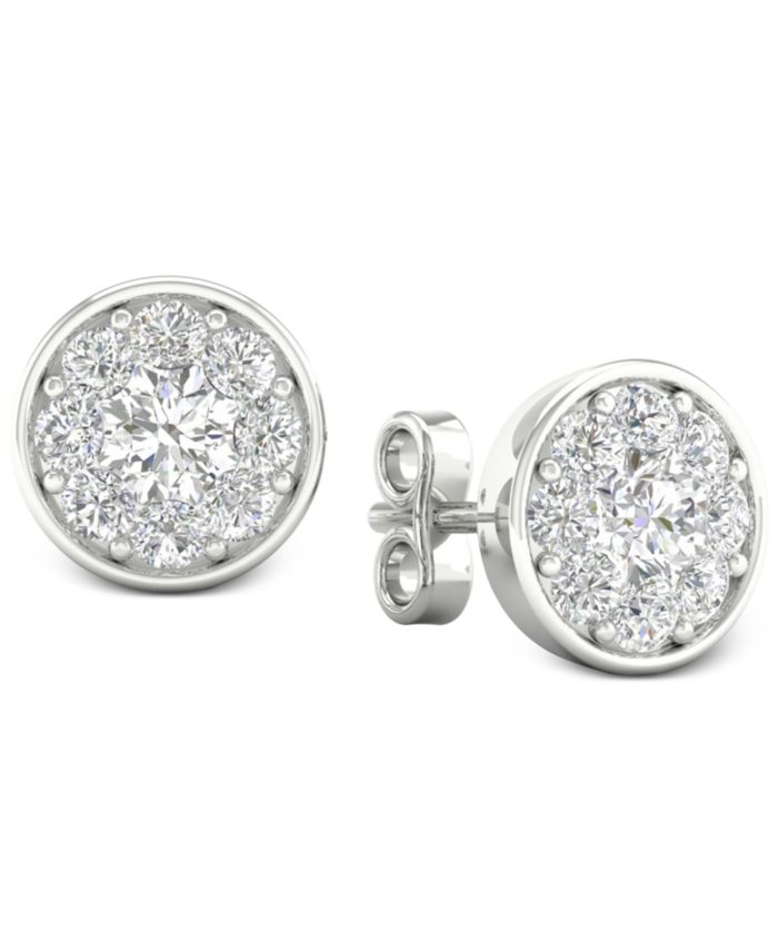 Forever Grown Diamonds Lab-Created Diamond Halo Stud Earrings (1/2 ct. t.w.) in Sterling Silver & Reviews - Bracelets - Jewelry & Watches - Macy's