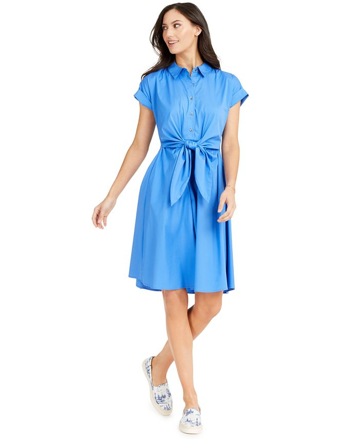 Charter Club - Cotton Tie-Waist Fit & Flare Dress