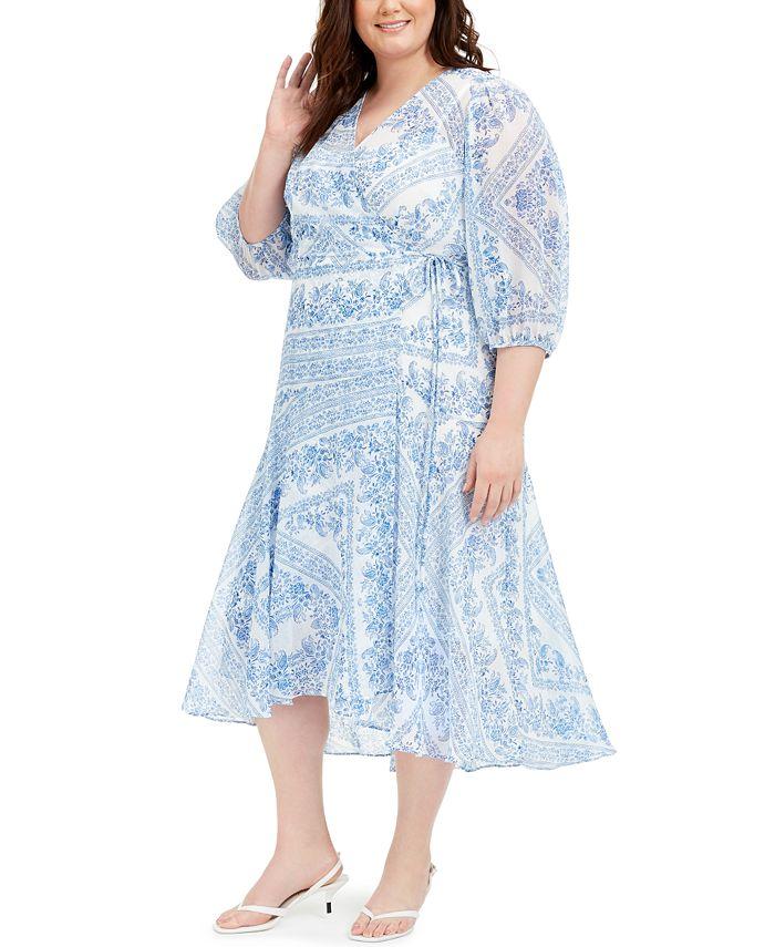 Calvin Klein - Plus Size Bandana-Print Wrap Dress