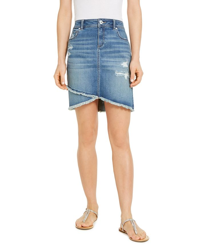 INC International Concepts - Destructed Fray-Trim Crossover-Hem Denim Skirt
