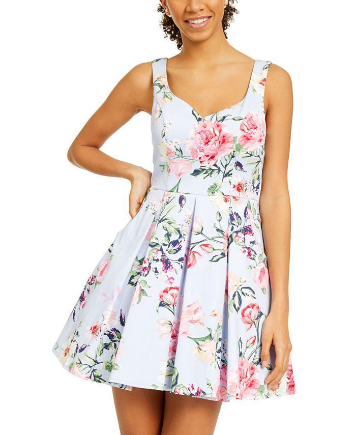 Trixxi - Juniors' Floral Fit & Flare Dress