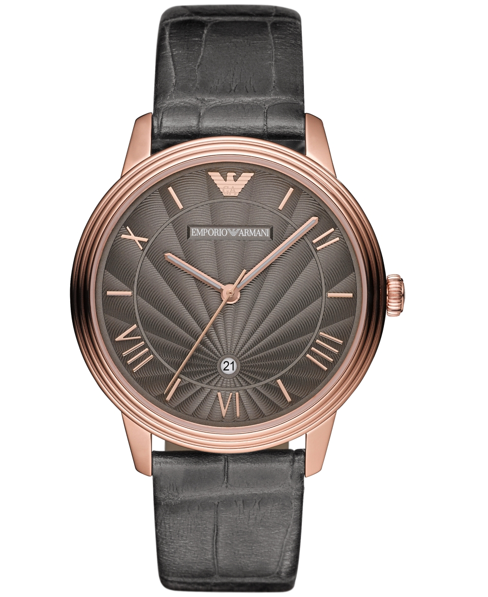 Emporio Armani Watch, Mens Gray Croco Leather Strap 41mm AR1717   Watches   Jewelry & Watches