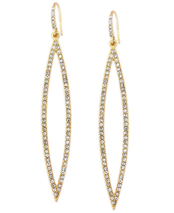 ABS by Allen Schwartz - Earrings, Gold-Tone Pave Crystal Marquise Drop Earrings