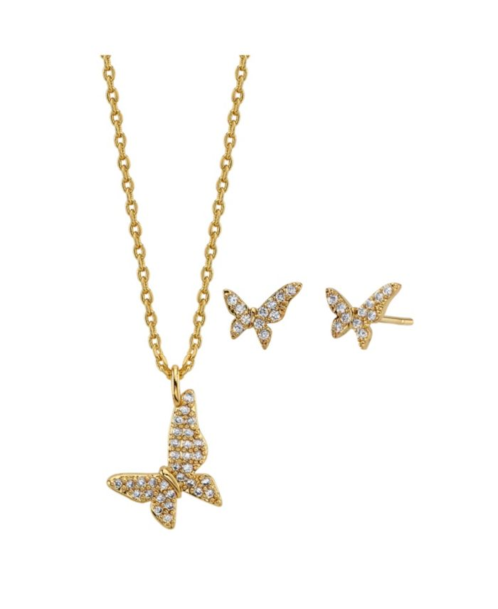 Unwritten 2-Pc. Set Cubic Zirconia Mini Butterfly Necklace & Stud Earrings in Gold Tone Fine Plated Silver, Created for Macy's & Reviews - Fashion Jewelry - Jewelry & Watches - Macy's