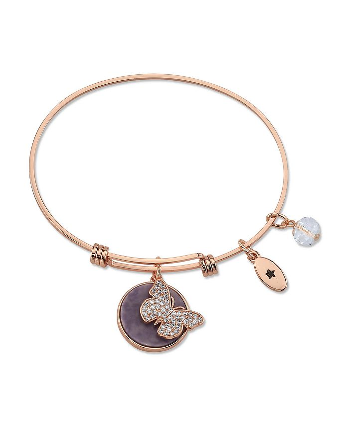 "Unwritten - "" Fearless"" Cubic Zirconia and Genuine Amythest Adjustable Bangle Bracelet in Stainless Steel"
