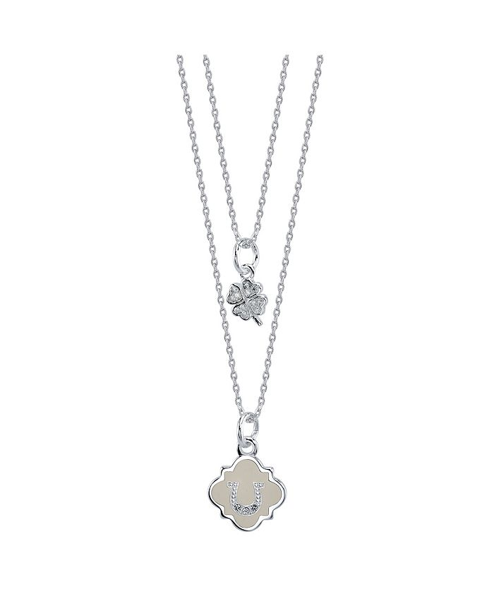 Unwritten - White Enamel Horseshoe and Cubic Zirconia Clover Duo Necklace in Fine Silver Plate