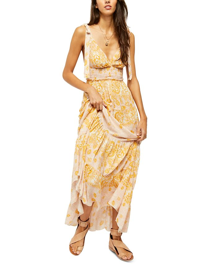 Free People - Let's Smock About It Printed Maxi Dress