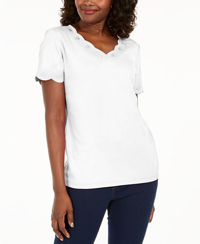Karen Scott - Cotton Scalloped V-Neck T-Shirt