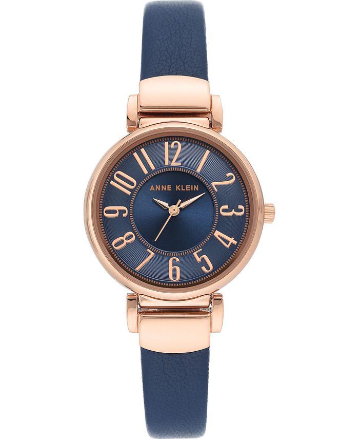 Anne Klein - Women's Navy Blue Leather Strap Watch 30mm