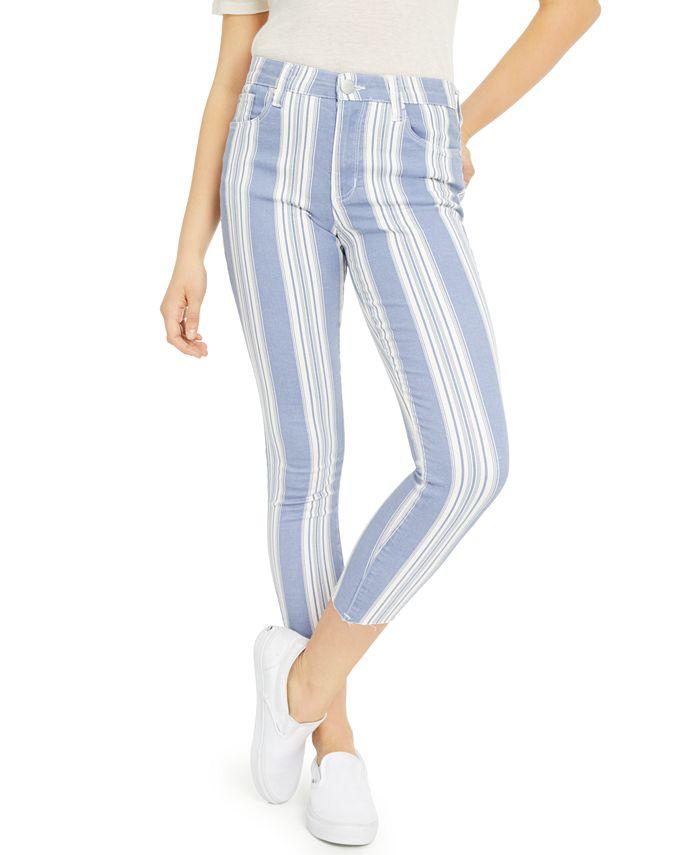 GREENE ST. DENIM - Striped Cropped Skinny Jeans