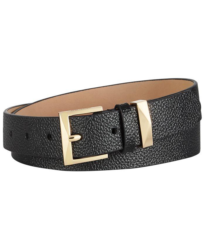 Michael Kors - Pebble Leather Skinny Belt