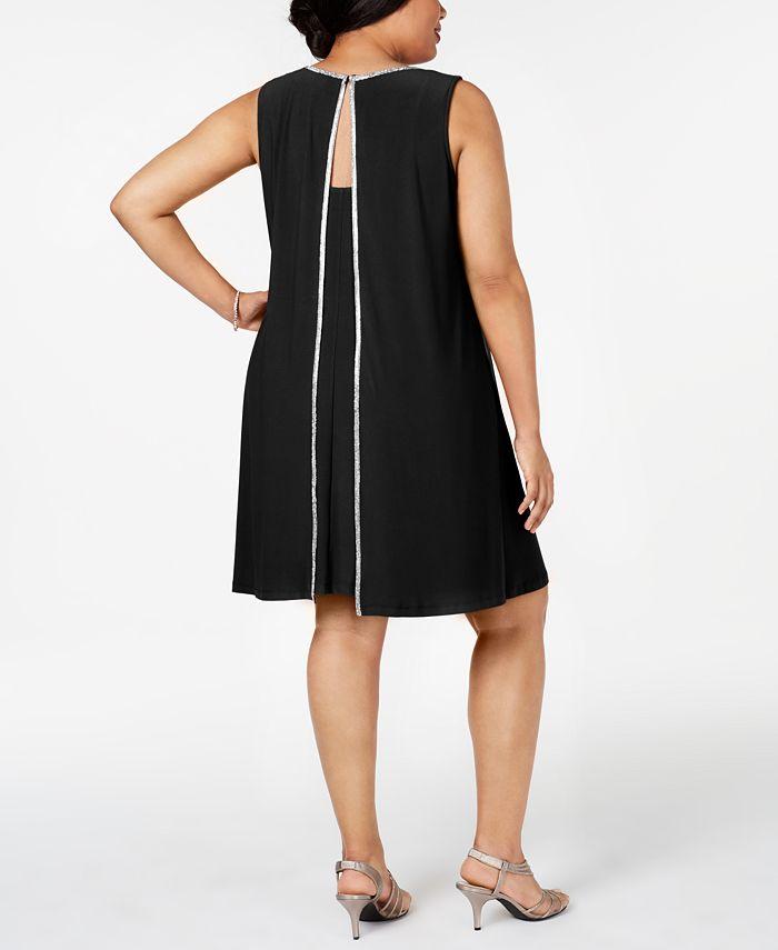 MSK - Plus Size Embellished Split-Back Shift Dress