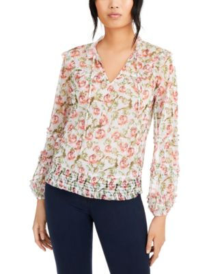 INC Printed Peasant Blouse, Created for Macy