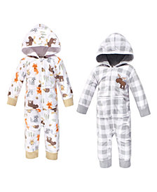 Hudson Baby Baby Girls and Boys Woodland Fleece Jumpsuits, Coveralls and Playsuits, Pack of 2