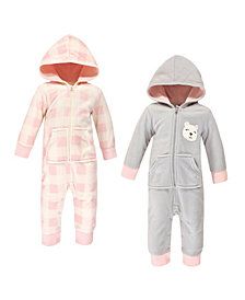 Hudson Baby Baby Girls Bear Fleece Jumpsuits, Coveralls and Playsuits, Pack of 2