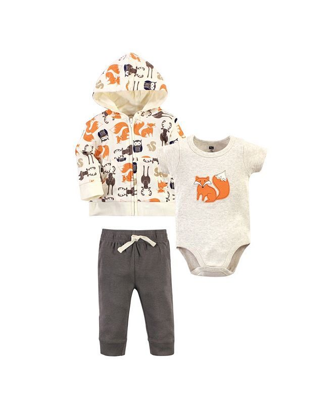 Hudson Baby Baby Boys Forest Hoodie, Bodysuit or Tee Top and Pant Set, Pack of 3
