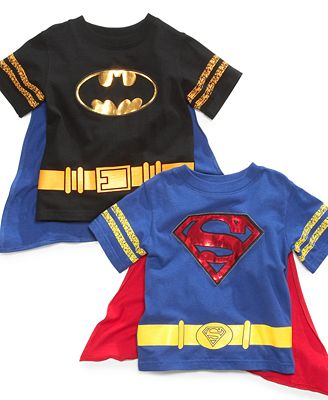 Warner brothers kids t shirt little boys superhero cape Boys superhero t shirts