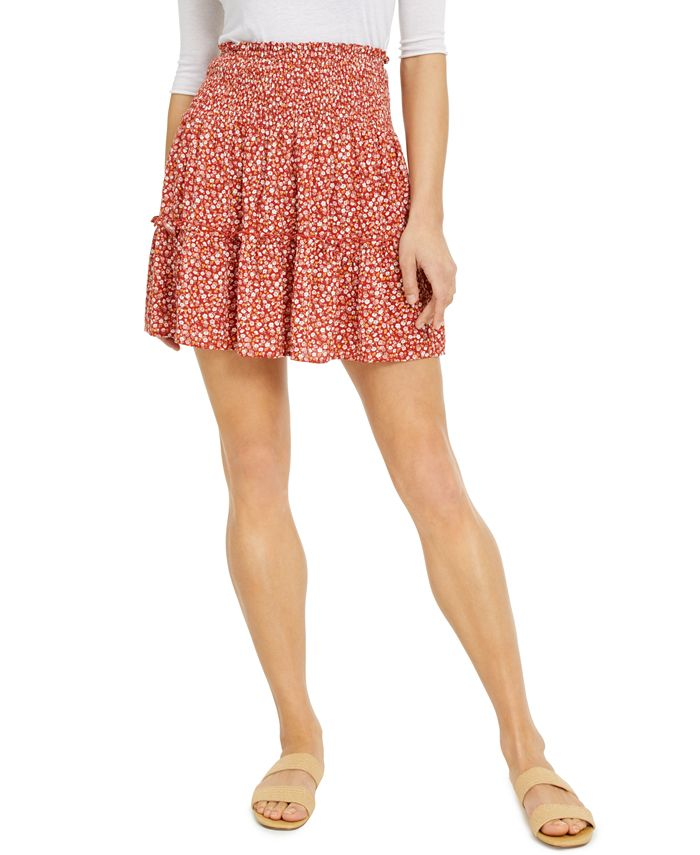 Hippie Rose - Juniors' Printed Ruffle Mini Skirt