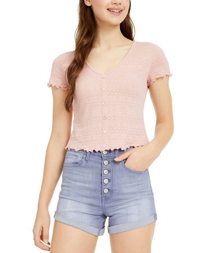 Hippie Rose - Juniors' Button-Trimmed Lace Top