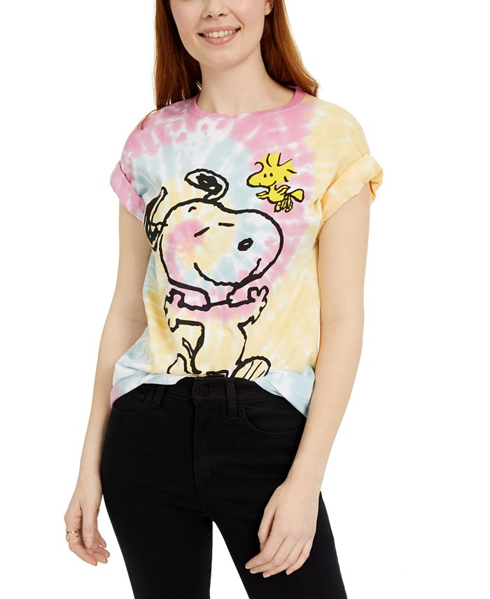 Peanuts - Juniors'  Snoopy Woodstock Printed Graphic T-Shirt