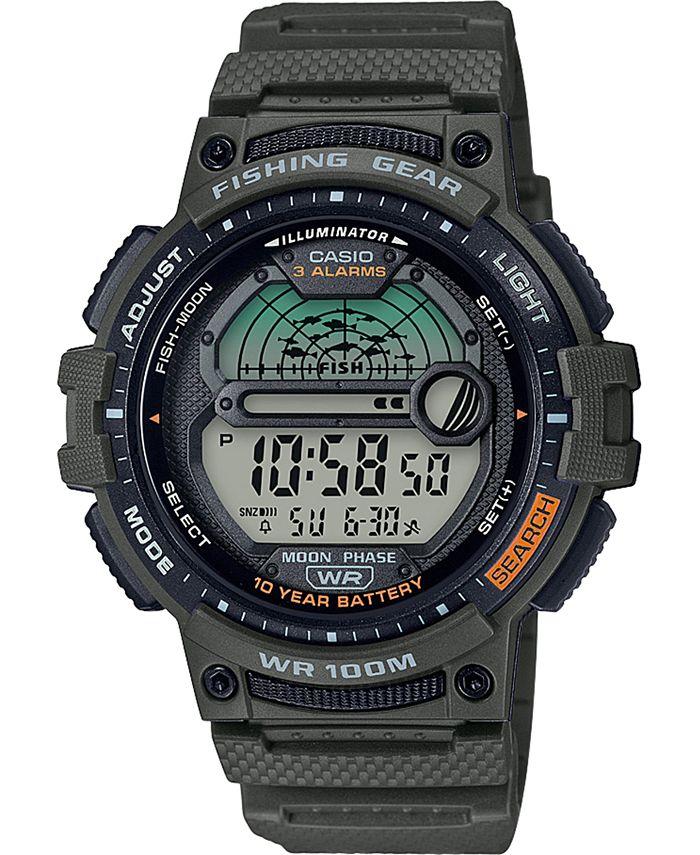 Casio - Men's Digital Fishing Gear Green Resin Strap Watch 47mm