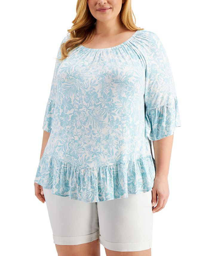 Style & Co - Plus Size Printed Off-The-Shoulder Top