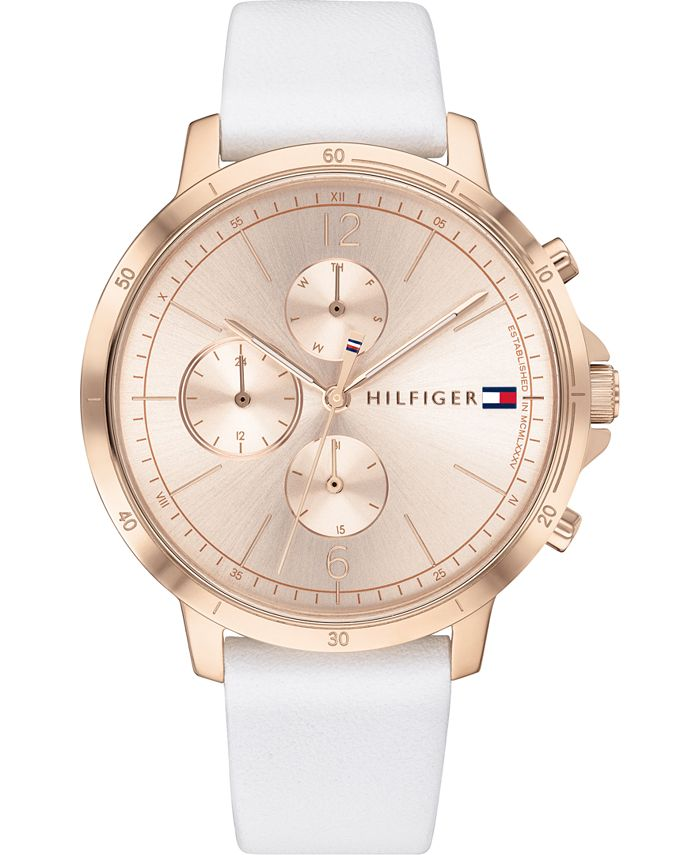 Tommy Hilfiger - Women's Chronograph White Leather Strap Watch 38mm