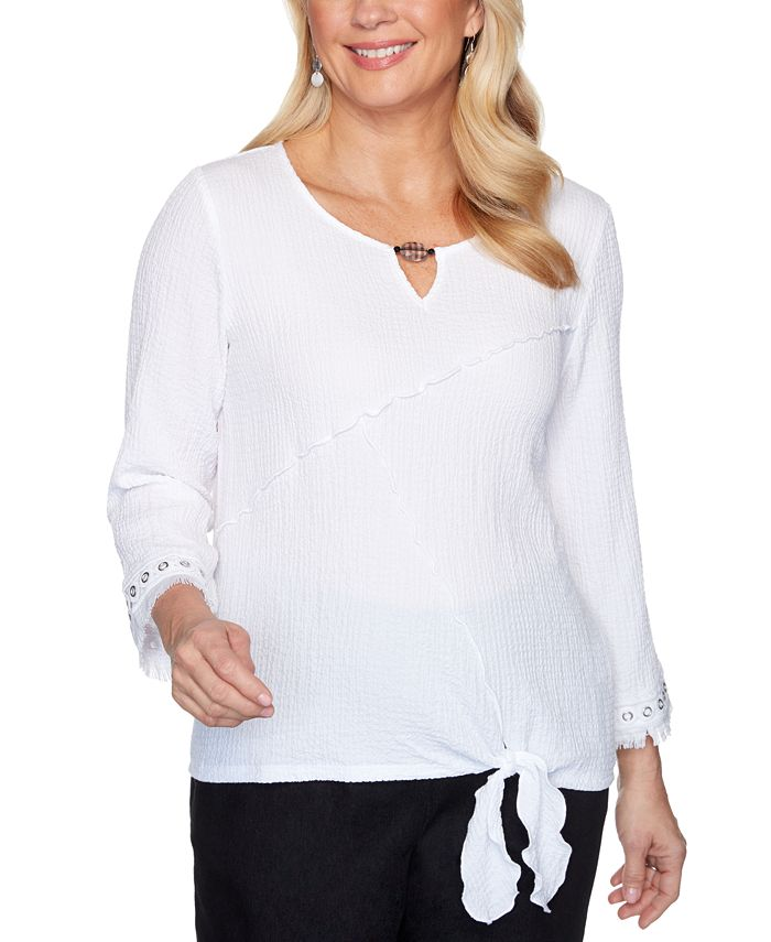 Alfred Dunner - Petite Checkmate Tie-Front Bubble Gauze Top