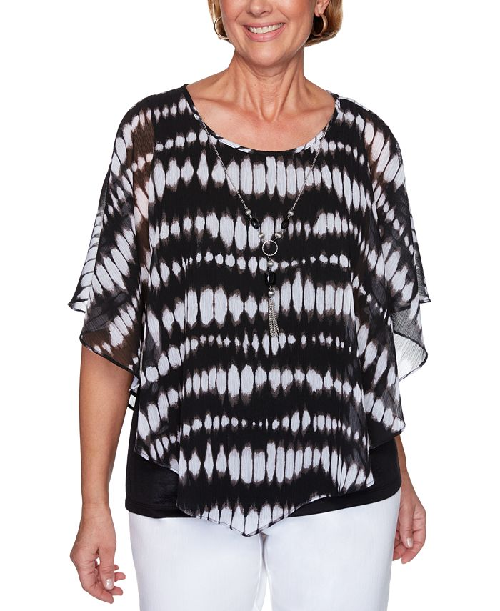 Alfred Dunner - Petite Checkmate Tie-Dyed Flutter-Sleeve Top