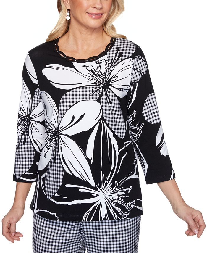 Alfred Dunner - Petite Checkmate Exploded Floral & Gingham-Print Top