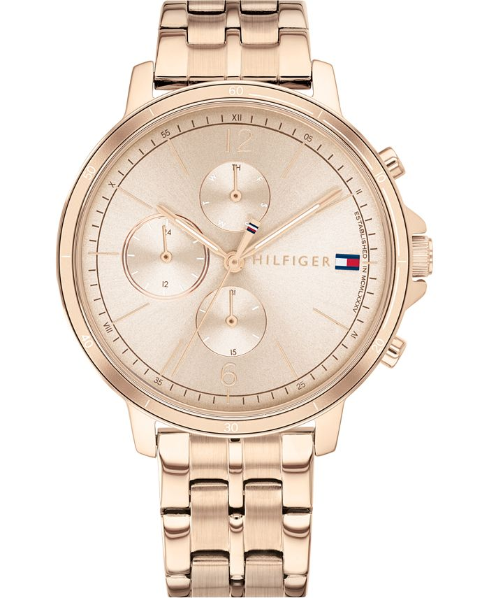 Tommy Hilfiger - Women's Chronograph Carnation Gold-Tone Stainless Steel Bracelet Watch 38mm