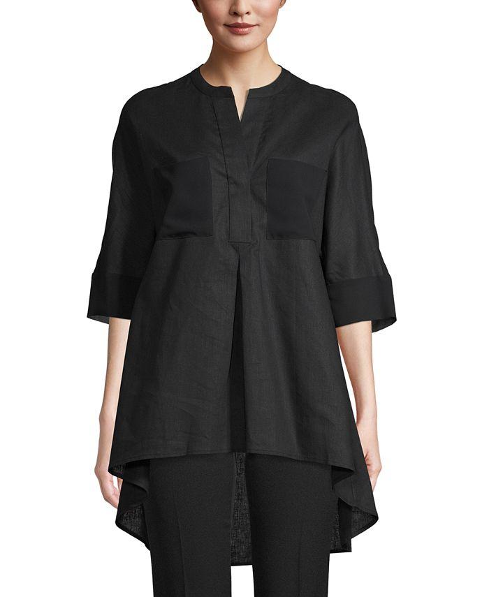 Anne Klein - Linen Front-Pocket Tunic