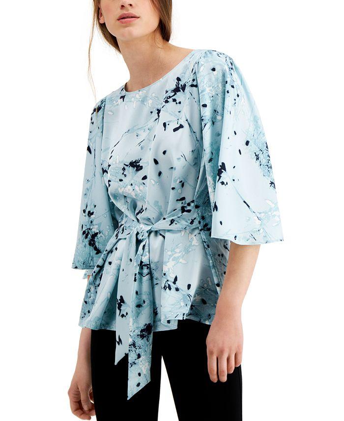 Alfani - Printed Tie-Front Blouse