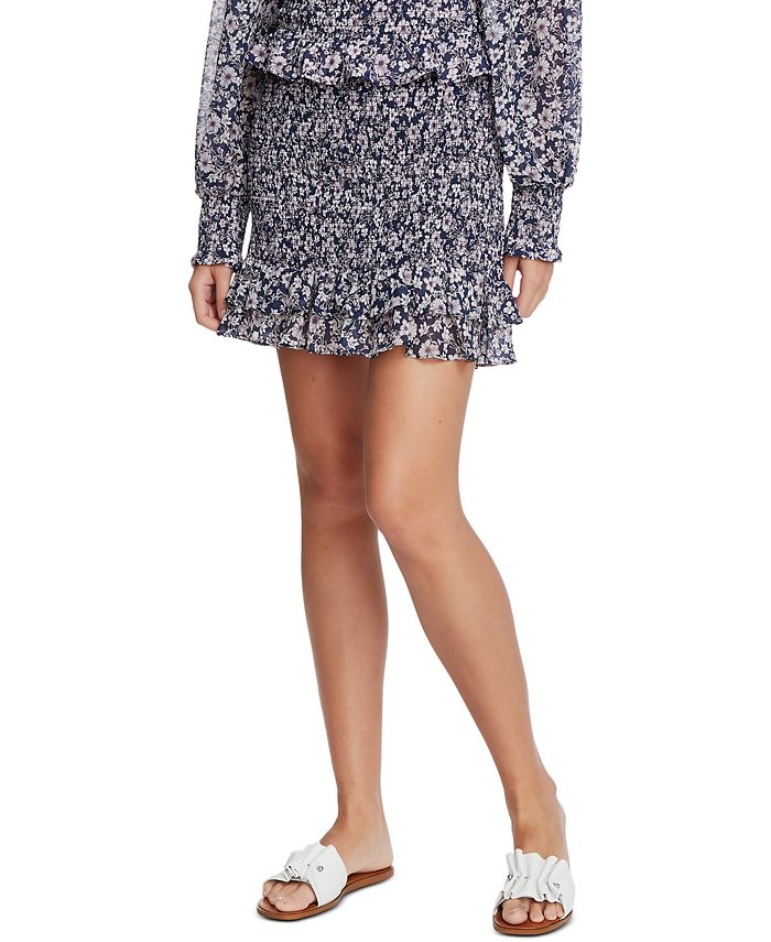 1.STATE - Floral-Print Smocked Skirt