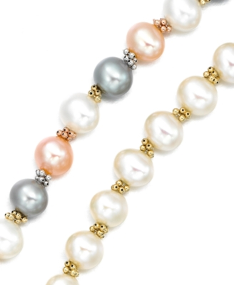 14k Gold Multicolored Cultured Freshwater Pearl Bracelet