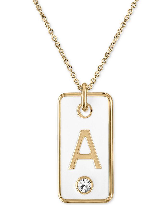 RACHEL Rachel Roy - Gold-Tone Initial White Tag Pendant Necklace