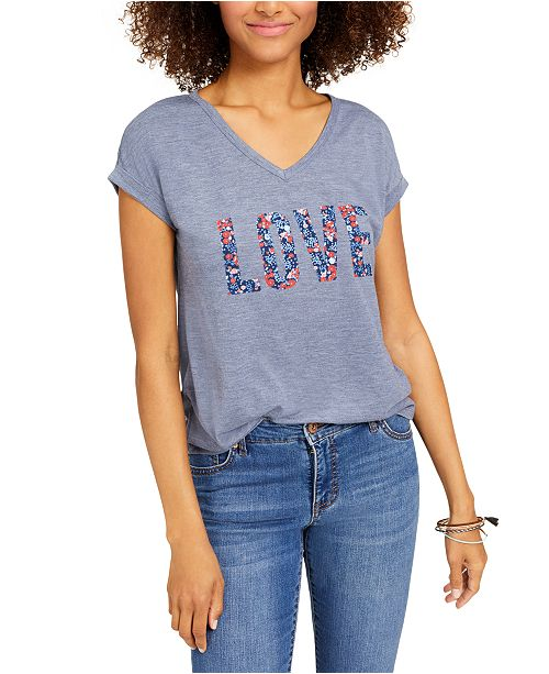 Style Co Petite Floral Graphic T Shirt Created For Macy S Reviews Tops Petites Macy S