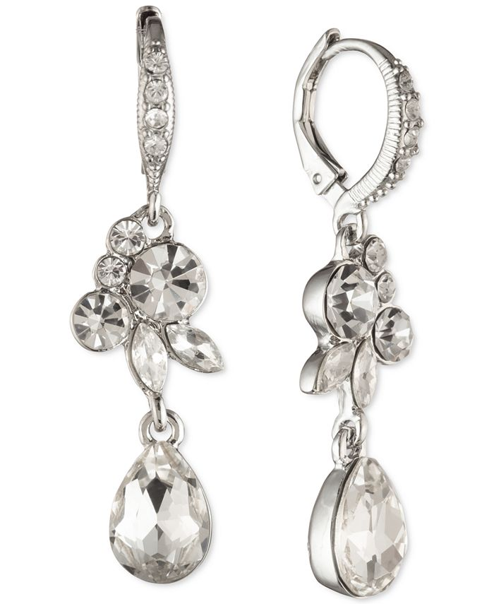 Givenchy - Crystal Cluster Double Drop Earrings