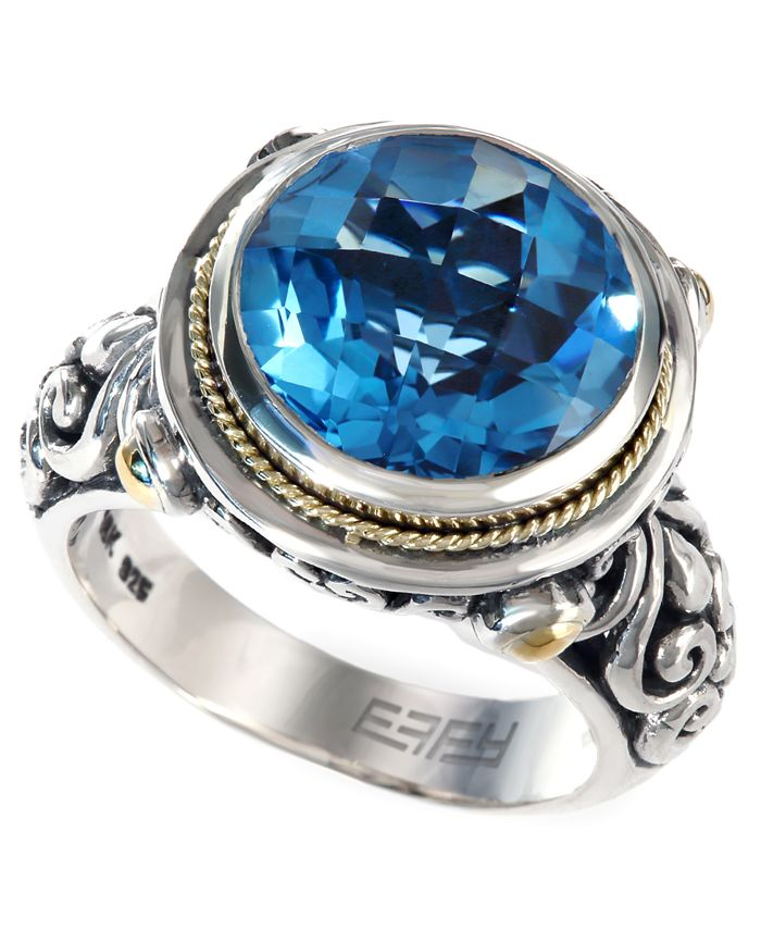 EFFY Collection - Blue Topaz (5-3/4 ct. t.w.) Round Ring in 18k Gold and Sterling Silver