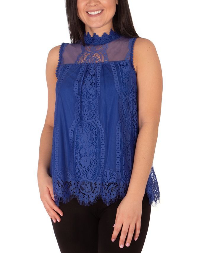 NY Collection - Mock-Neck Lace Top