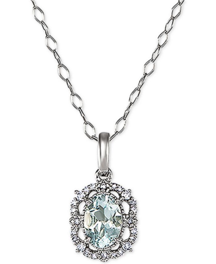 Macy's - Aquamarine (5/8 ct. t.w.) & Diamond (1/5 ct. t.w.) Drop Earrings in 14k White Gold