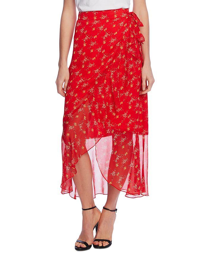 Vince Camuto - Floral-Print Faux-Wrap Skirt